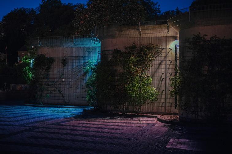 hamburg nocu fotografija zid senke