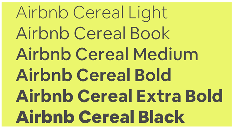 cereal font stilovi airbnb rebrand