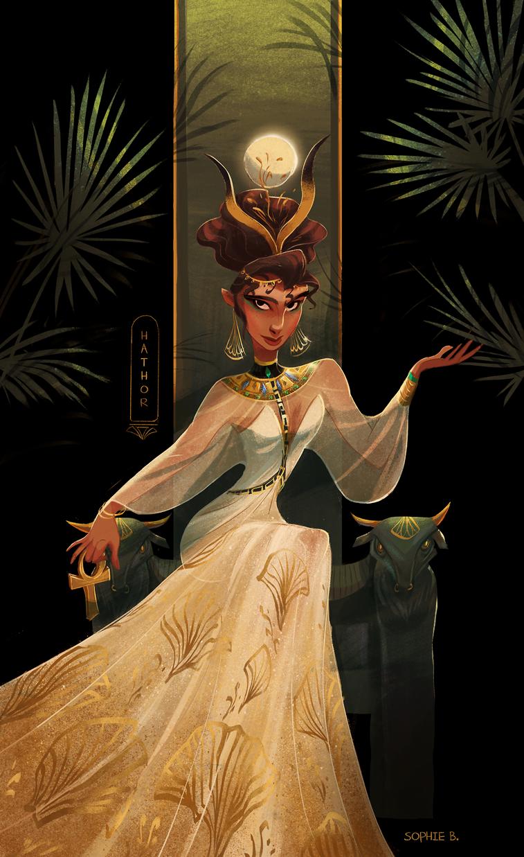 ilustracija lika egipatska boginja hator