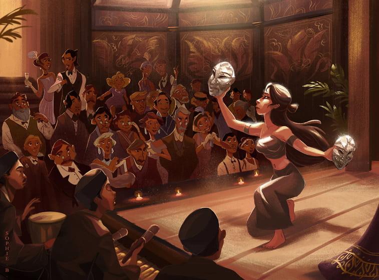 ilustracija zena maska podijum publika