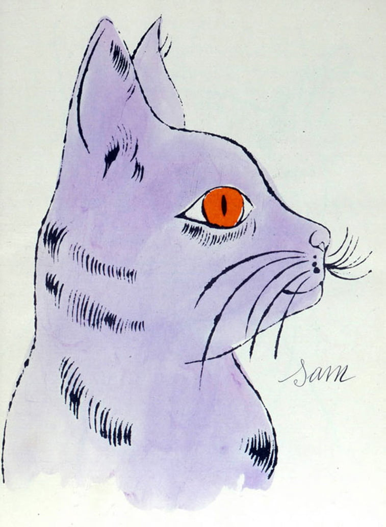 cat drawing andy warhol illustration