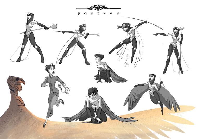 pokreti tela poze character design