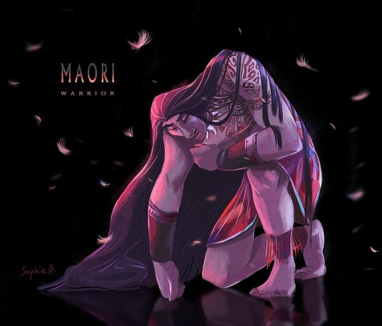 maori ratnik ilustrovani lik