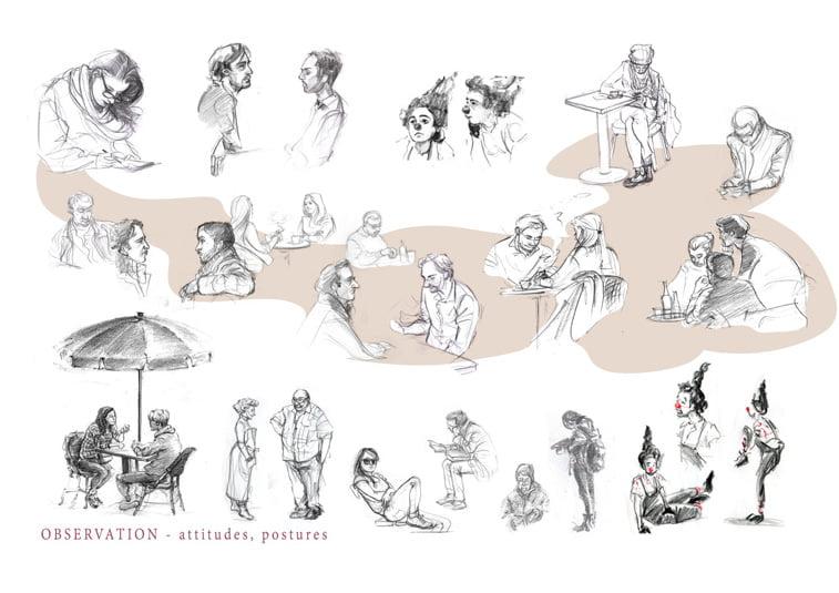 ljudi skice gestovi ilustracija