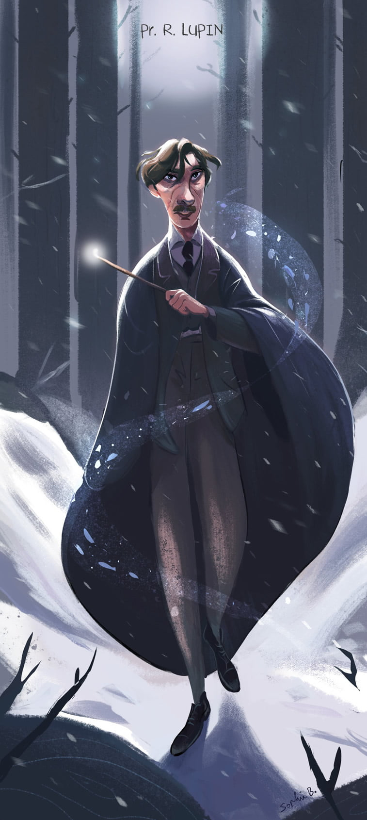 remus lupin illustration harry potter character