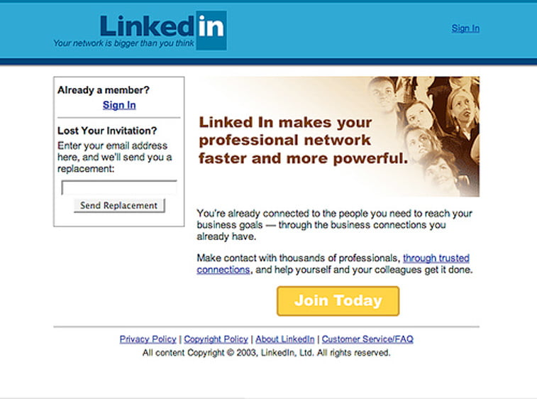 linkedin professional network web sajt 2003