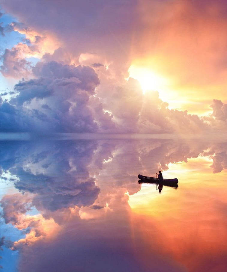 man in boat sky lake reflectionphoto manipulation
