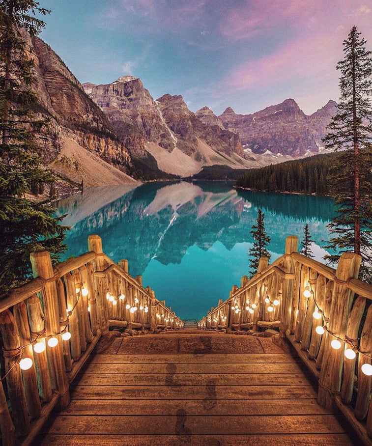 photo manipulation wooden stairs lights lake photo manipulation