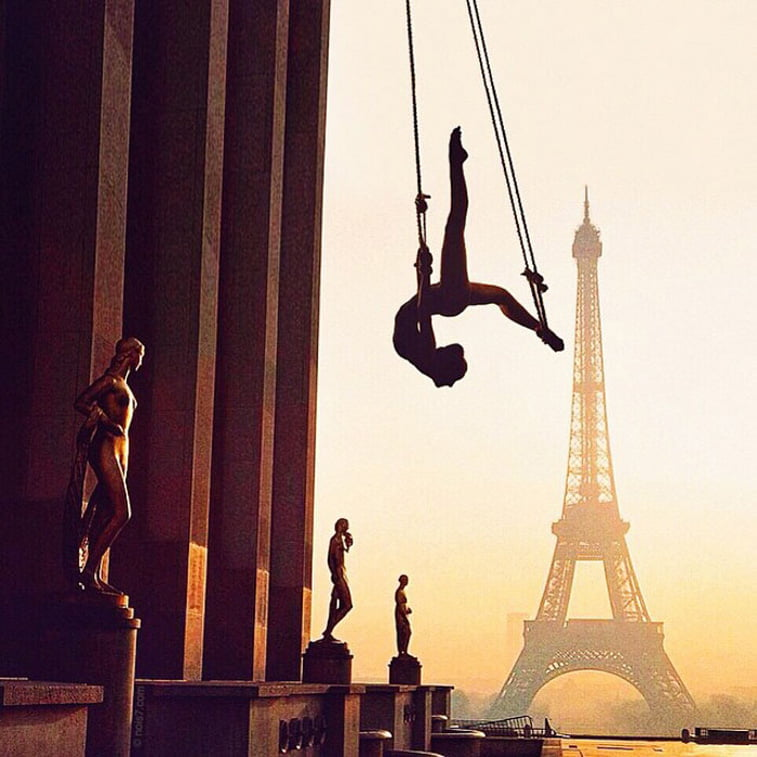 paris eifel tower sculptures woman acrobate photo manipulation