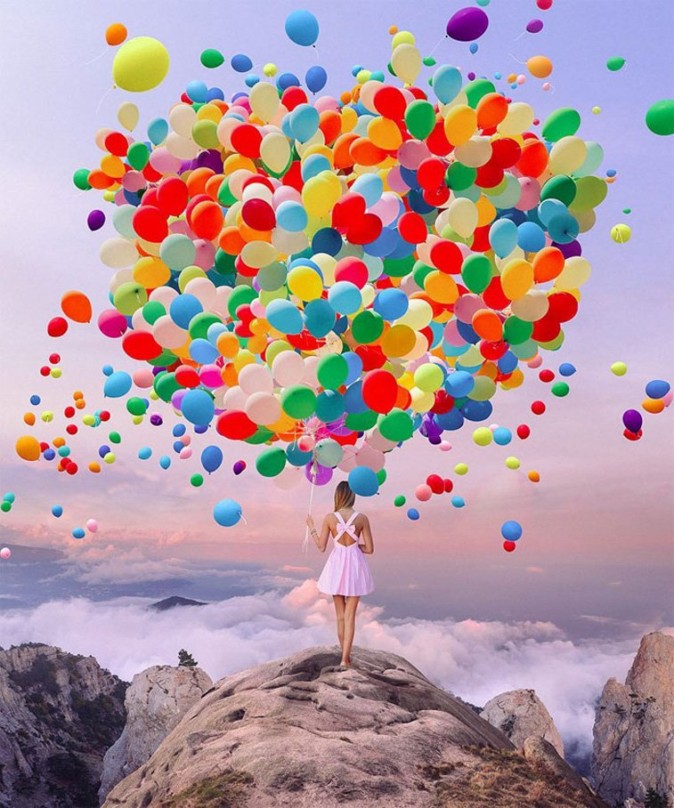 girl holding baloons top of the mountain photo manipulation