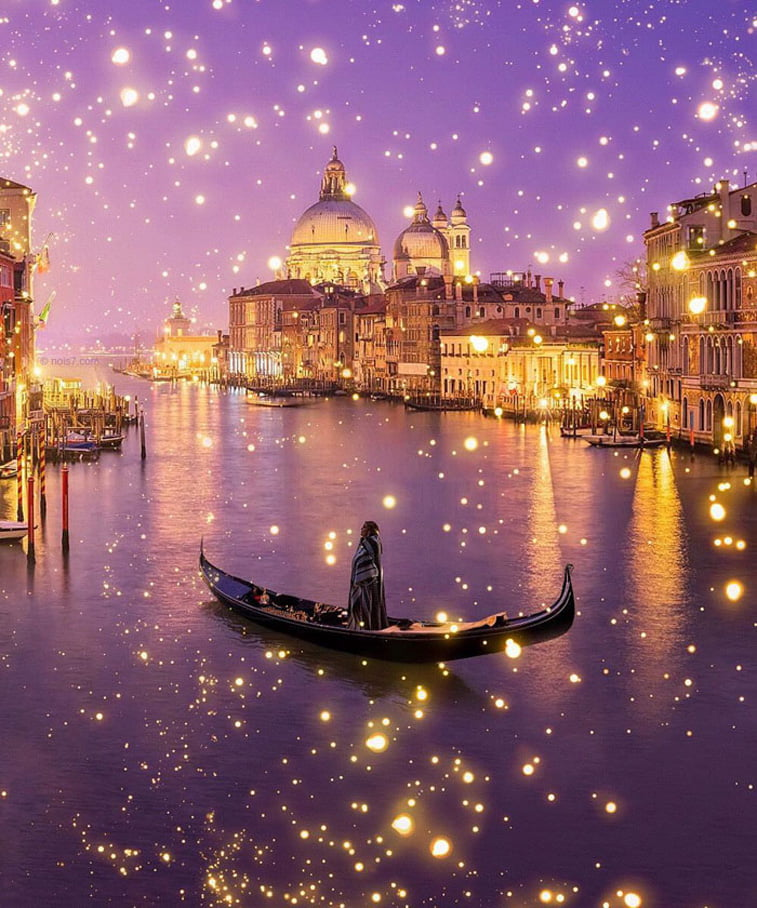 photo manipulation venezia gondola man fireflies