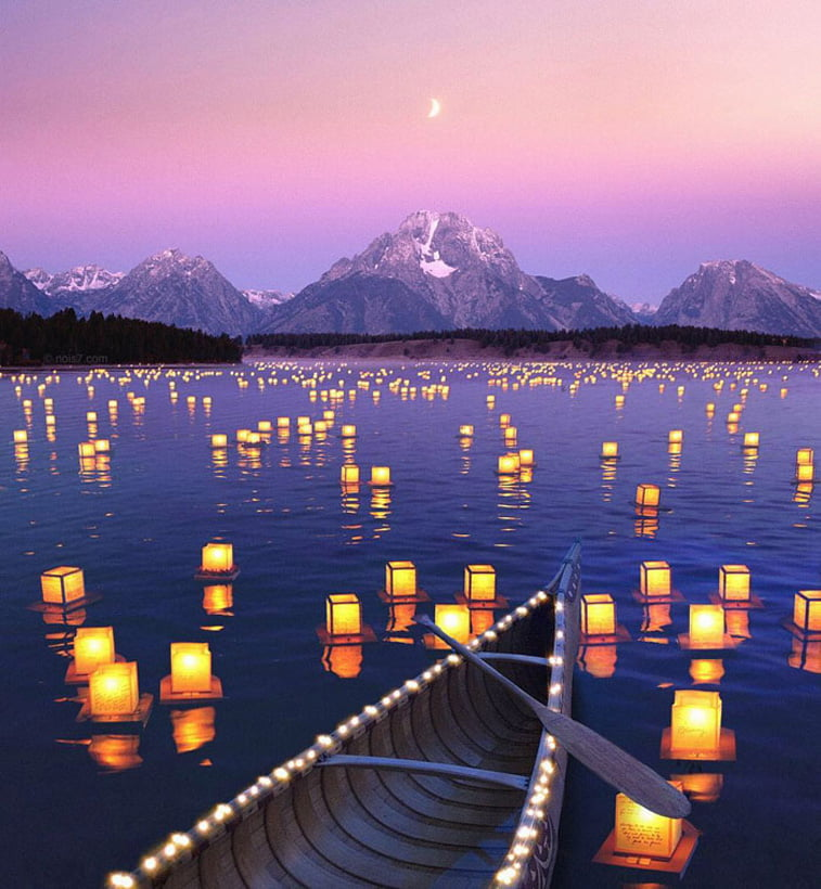 photo manipulation lake boat lantern lights