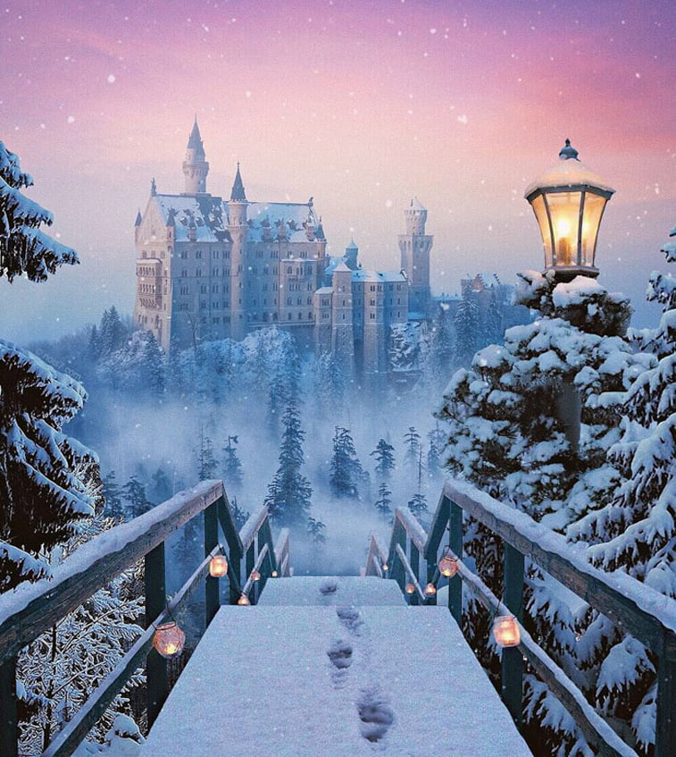 winter snow stairs castle photo manipulation