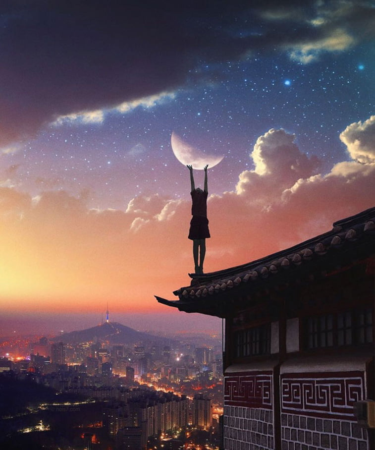 photo manipulation kid touching the moon sky rooftop
