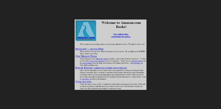 amazon web sajt 1995 homepage