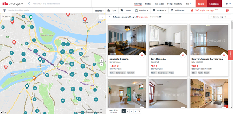 city expert mapa za izdavanje stanova