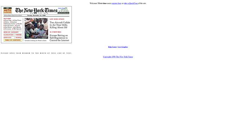the new york times online web sajt 1996