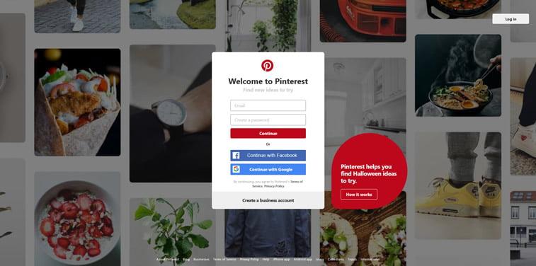 pinterest signin web sajt 2018