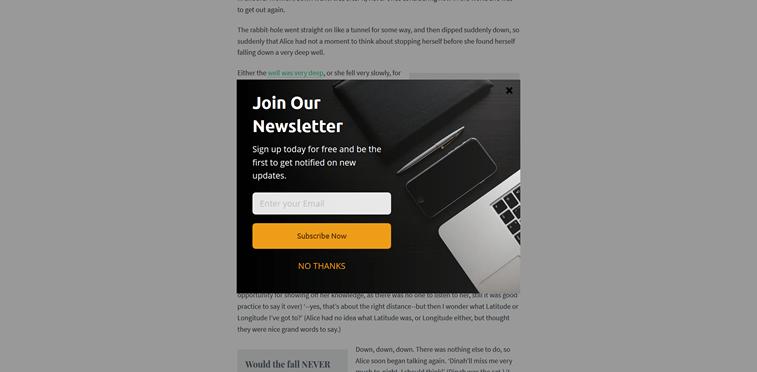 newsletter signup pop-up example design