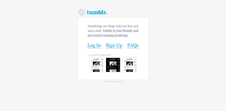 tumblr micro blog sign in 2007 web sajt