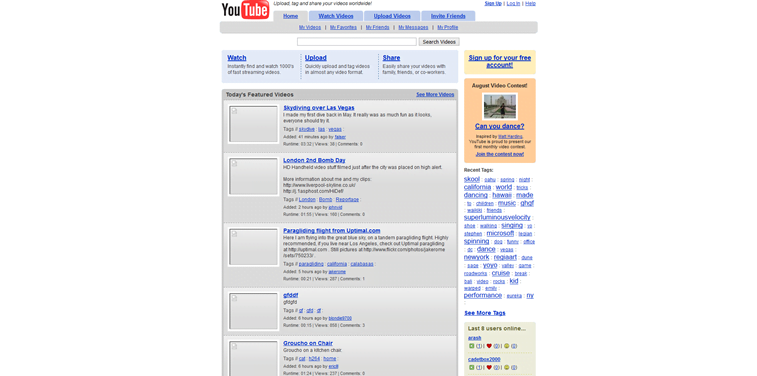 youtube website layout 2005