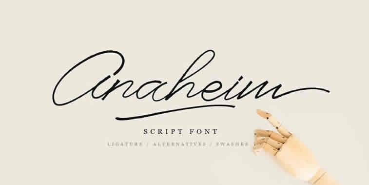 anaheim script font hand lettering