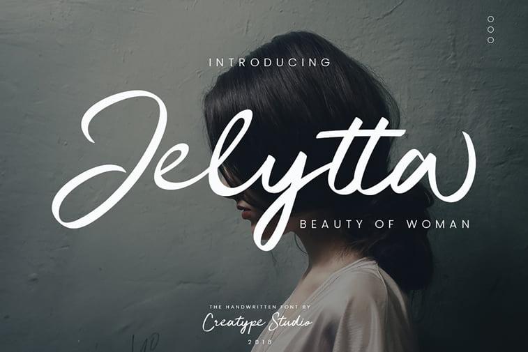jelytta free script font beauty of woman lettering