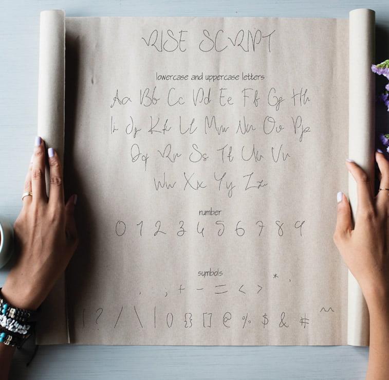 rise sxcript font preview on paper