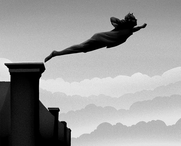 postolje skok spomenik monohromatska ilustracija