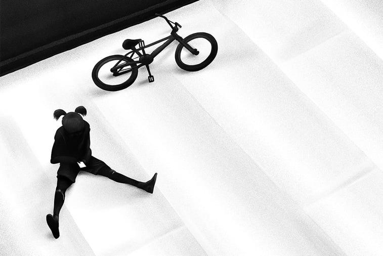 devojcica mobilni telefon bicikl ilustracija