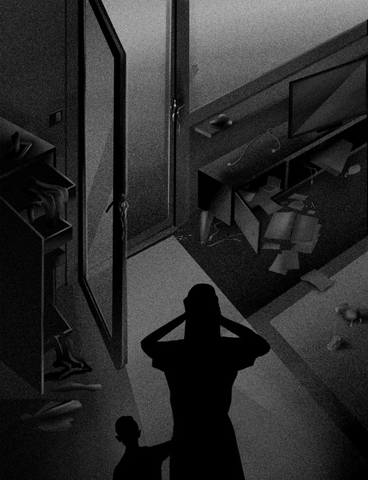 provaljena vrata zena dete senka