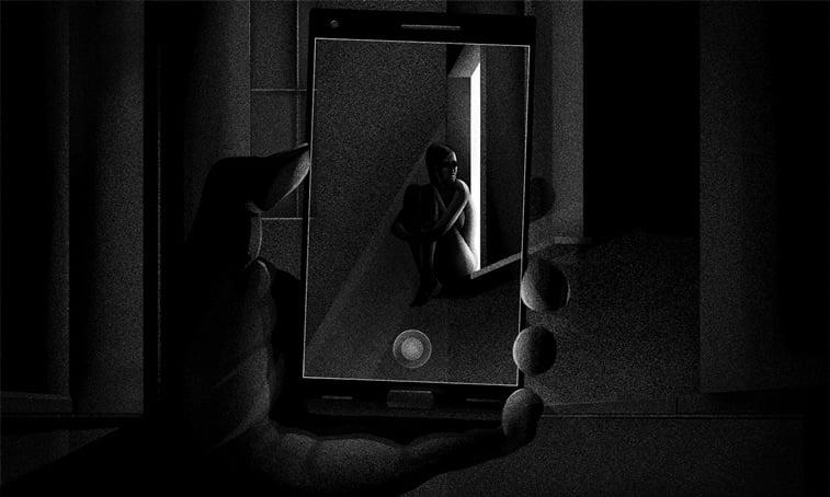 mobilni telefon ekran zena sedi na prozoru ilustracija