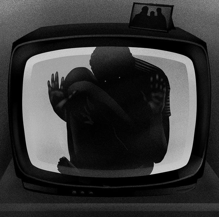 tv ekran covek zarobljen u televizoru ilustracija