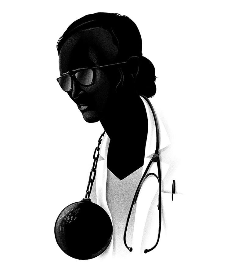 zena doktor stetoskop teg monohromatska ilustracija