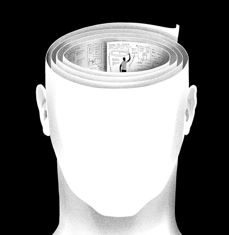 ilustracija glava ucenje pisanje