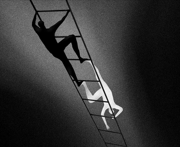 covek merdevine crno belo ilustracija