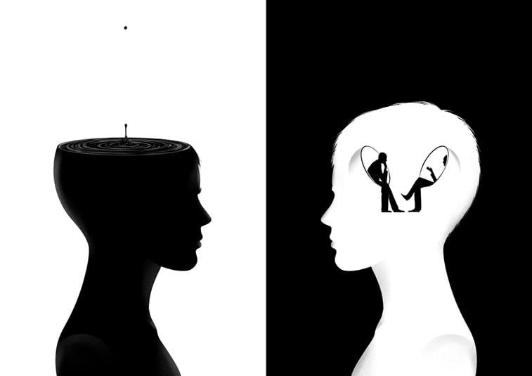 crno belo glava misljenje osoba iz profila ilustracija