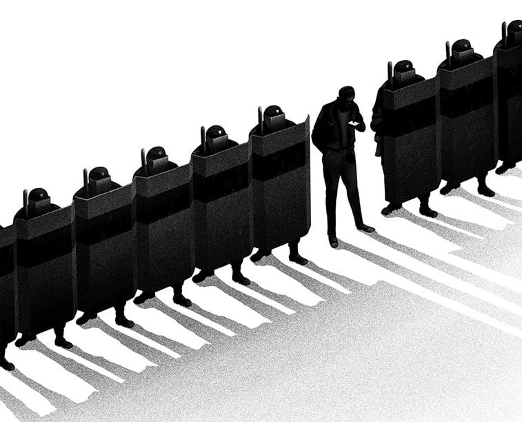 postrojeni vojnici stitovi ilustracija