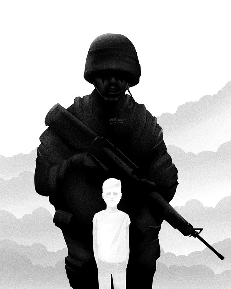 vojnik sa puskom i decak oblaci