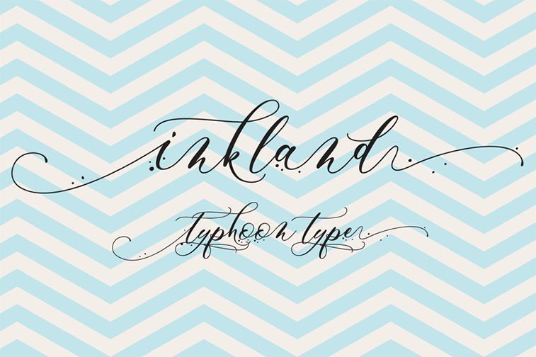 inkland script font hand lettering