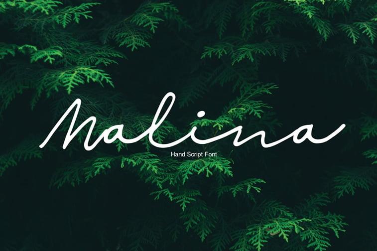 malina hand script font tree