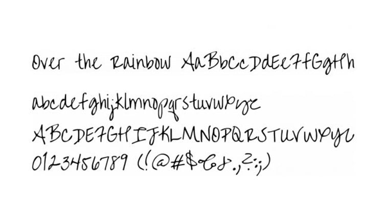 over the rainbow script font alphabet numbers
