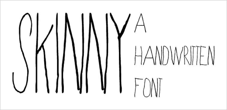 skinny handwritten font hand lettering