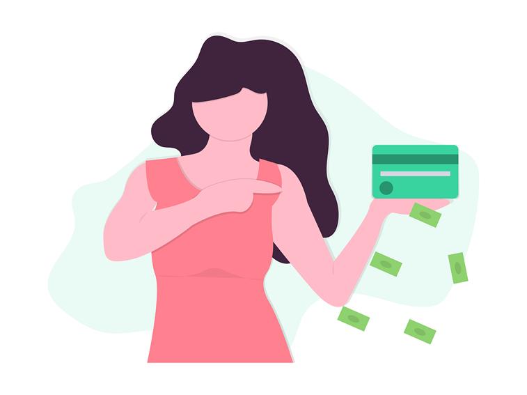 onlajn placanje kreditna kartica zena ilustracija