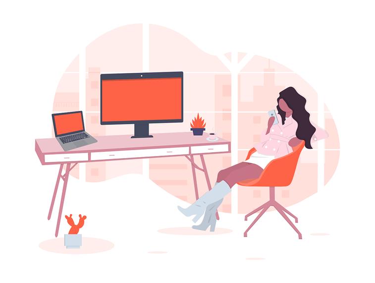 designer life lap top desktop phone undraw ilustracija
