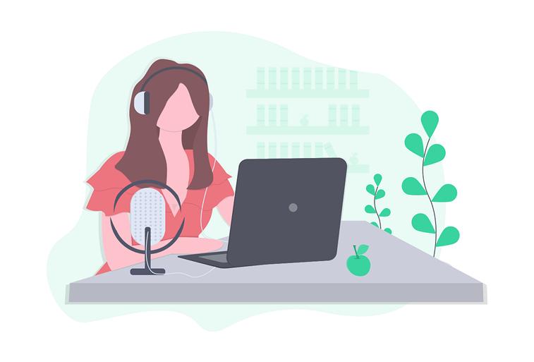 podkast radio miktrofon laptop devojka ilustracija