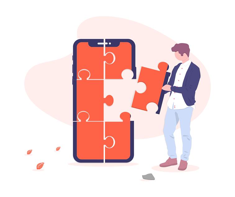 product teardown detalji puzzle telefon covek ilustracija