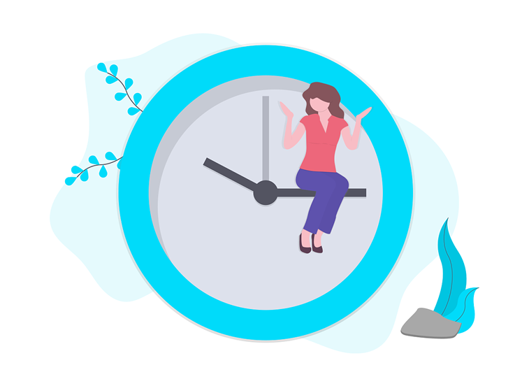 upravljanje vremenom time management devojka sat kazaljke ilustracija