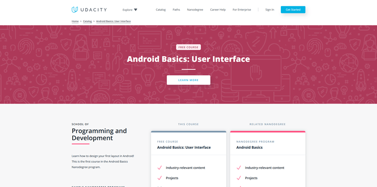 android basics user interface online course udacity