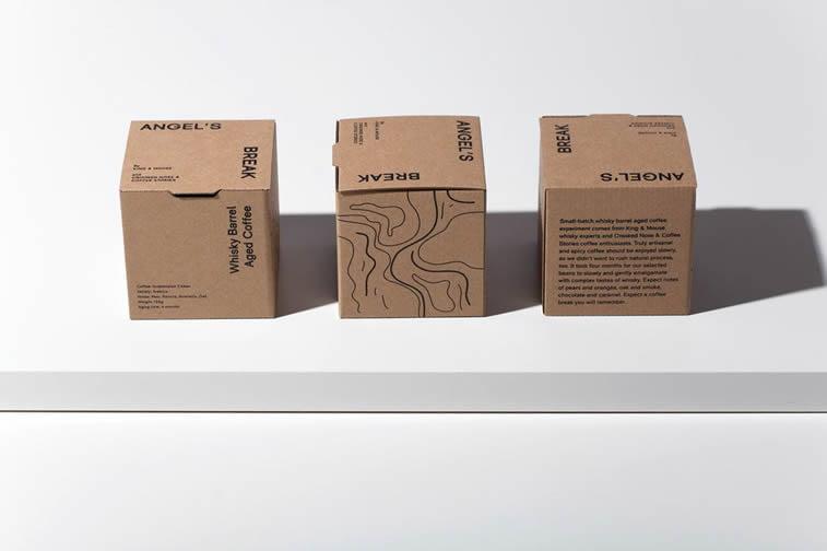 angels break coffee square box package design